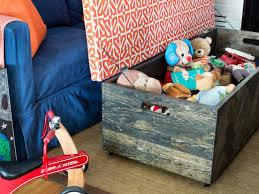 make a herringbone wood toy box storage ottoman