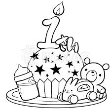 年齢別1歳の誕生日ケーキ線画塗り絵イラスト No 893388無料イラスト