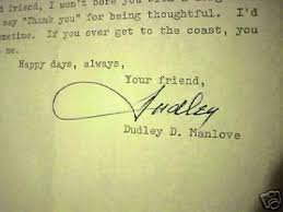 """DUDLEY MANLOVE SIGNED LETTER & """"PLAN 9"""" MOVIE VHS 
