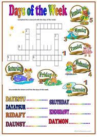 Kindergarten 273 FREE ESL Days Of The Week Worksheets Days Of The ...