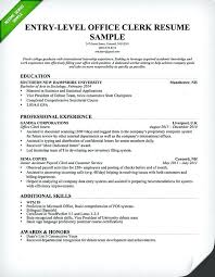 Clerical Resume Magnificent Objective For Clerical Resume Entry Level Office Clerk Resume Sample