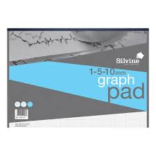 Silvine Student Graph Pad 90gsm 1mm 5mm 10mm Grid 30 Sheets