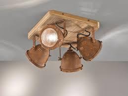 4flammiger Deckenstrahler Holz Metall Rostfarben Deckenlampe Industrial Style