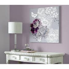 purple and silver canvas wall art