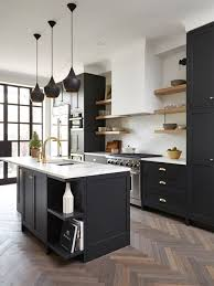 black kitchen cabinets with white countertops. Brilliant Countertops Black Kitchen Design Cabinets Houzz With White Countertops