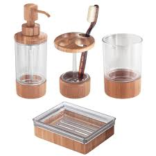 Amazon.com: InterDesign Bamboo Countertop Bath Accessory Set, Soap ...