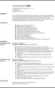 Special Ed Teacher Resume Custom Teachers Resume Template Formatted Templates Example