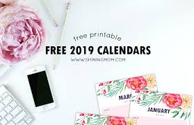 free printable 2019 monthly calendar free printable calendar 2019 with notes in pretty florals