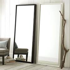 full length mirror with black wood frame floating floor west elm o
