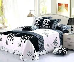chanel bed set black and white coco full size