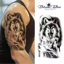 Lupo Di Urlo Tatuaggio Temporaneo Lupi Spalla Mezza Manica Leone Tribale Polinesiano Design Trasferimento Adesivo Tatuaggio Finto