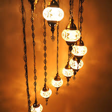Oosterse Hanglamp Mozaïek 11 Bollen Wit Design H218cm Patipada