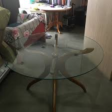 4ft round glass top with tack wood leg 130
