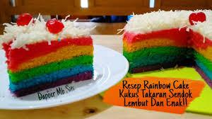 Kocok telur dan gula dengan mixer kecepatan tinggi sampai gula larut. Resep Rainbow Cake Kukus Lembut Takaran Sendok 4 Telur Youtube
