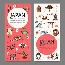 flyers logo outline japan travel flyers placrad banners set vector stock vector