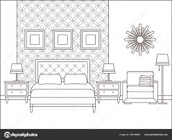 Slaapkamer Interieur Vector Hotelkamer Een Overzicht Van Retro Huis