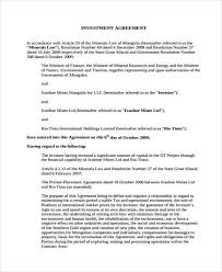 Investment Agreement Templates 8 Investment Agreement Form Samples Free Sample Example Format