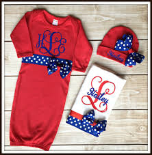 personalized red and royal baby set personalized baby set monogrammed baby set monogrammed