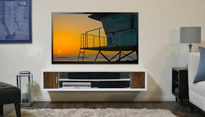 Wall Units, Glamorous Tv Wall Console Shelf For Under Wall Mounted Tv  Floating White Wooden