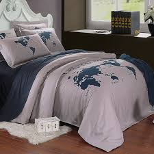dark blue and gray the world map nautical themed 5 star hotel style 100 cotton full queen size bedding sets