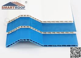 hollow pvc roof sheet eco friendly bright blue corrugated roofing sheets