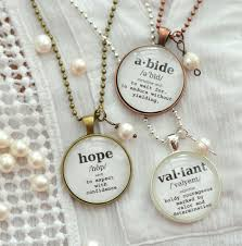 inspirational word necklace choose a word and definition