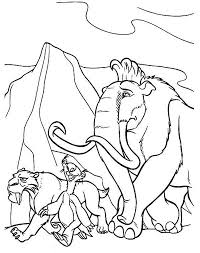 Small Picture The Animals of the Ice Age Manny Sid and Diego Colouring Page The