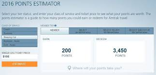 Amtrak Guest Rewards Redemption Chart