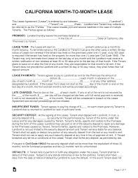 Month To Month Rental Agreement Template Free California Month To Month Rental Agreement Form Word