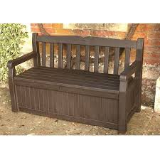 KETER ICENI EDEN PLASTIC GARDEN STORAGE BENCH BOX DARK BROWN WATERPROOF