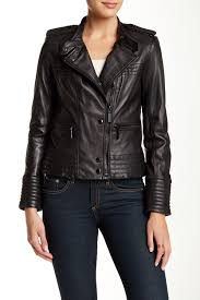 image of vince camuto genuine lambskin leather moto jacket