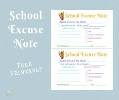 Doctors Note For School Absence Free School Excuse Note Free Printable Fyi By Tina