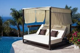 Riviera Modern Outdoor Chaise Lounge Daybed with Canopy - Icon ...