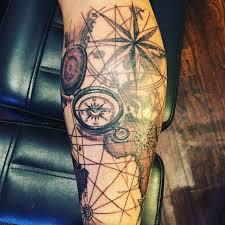 Compass And World Map Back Of Calf Tattoo Tattoo Tattoos World