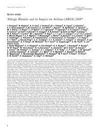 Aria 2008 Allergy Allergen