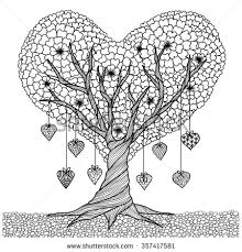 Small Picture Hand drawn heart shape tree for coloring book for adult 2016