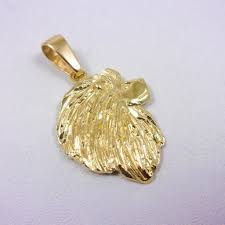 new solid 18k yellow gold lion head pendant