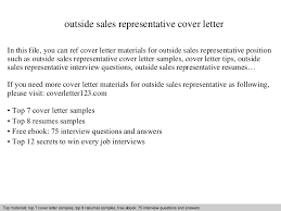 Sample Outside Sales Resume Outside Sales Representative Cover Letter