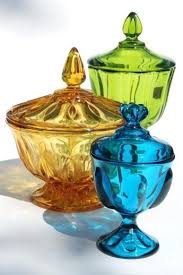 glass candy dishes mod vintage genie jar colored blue green viking amber bowls for wedding glass candy dishes vintage