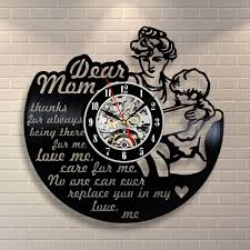 mom son vintage dad mother vinyl clock wall decor home party birthday handmade
