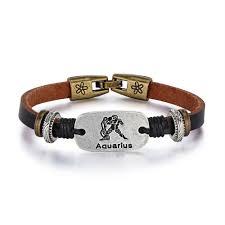 girls vintage zodiac sign aquarius charm leather bracelet dark brown color from ae uae