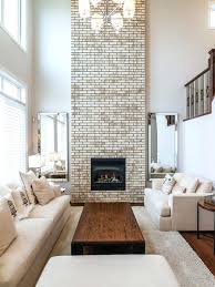 painted brick fireplace white living room mid sized transitional open concept and formal dark wood floor