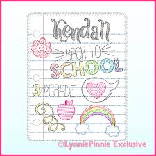 Lynnie Pinnie Embroidery Designs Back To School Notebook Paper Doodles Set Applique Sketch