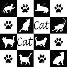 黒と白の猫シルエット壁紙します
