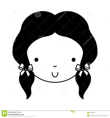 Black Icon Cute Girl Face Stock Vector Illustration Of Healthy