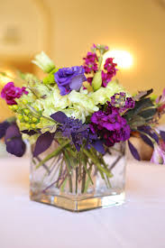 Simple Purple Wedding Flower Centerpieces In Square Glass Jar Combined With  Sweet Blue Wedding Flower Centerpieces Roses And Elegant White Flowers