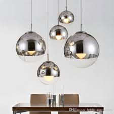 modern pendant lamps mirror ball glass linear suspension pendant lights for dinning room globe glass home bar cafe shade hanging lighting stained glass