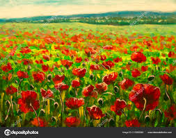 field red poppies sunset stunning flowers landscape oil painting stock photo
