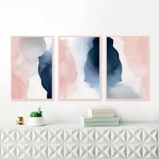 abstract gallery wall art set of 3 blush pink an navy art prints watercolour paintings downloadable art watercolor prints on gallery wall art prints with abstract gallery wall art set of 3 blush pink an navy art prints