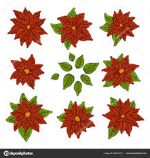 Weihnachten Und Neujahr Elemente Mit Roten Weihnachtsstern
